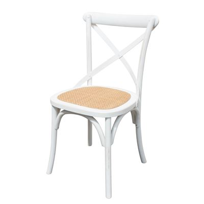 Set of 2 Cross Back Chair White Antique