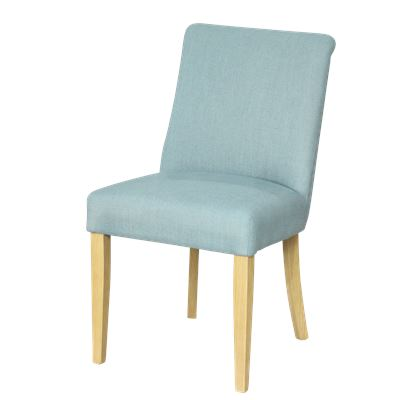 Classic Linen Dining Chair Blue Brown Legs