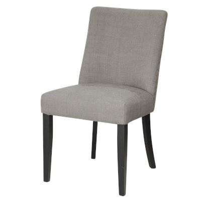 Set of 2 Classic Grey Dining Chair Black Legs