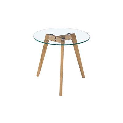 Astrid Side Table Glass & Oak Small