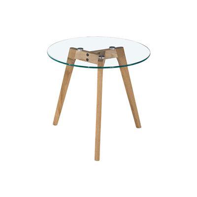 Astrid Side Table Glass & Oak Large