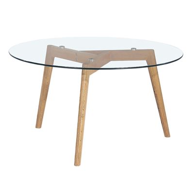 Astrid Coffee Table Glass & Oak 90cm