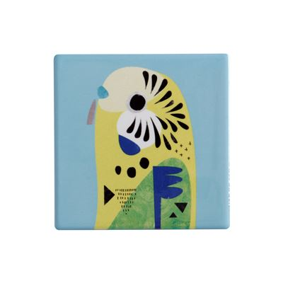 Pete Cromer Ceramic Coaster 9.5cm Budgie