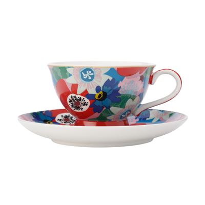 Teas & C's Glastonbury Footed Cup & Saucer 200Ml Passion Vine Blue