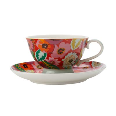 Teas & C's Glastonbury Footed Cup & Saucer 200Ml Poppy Red