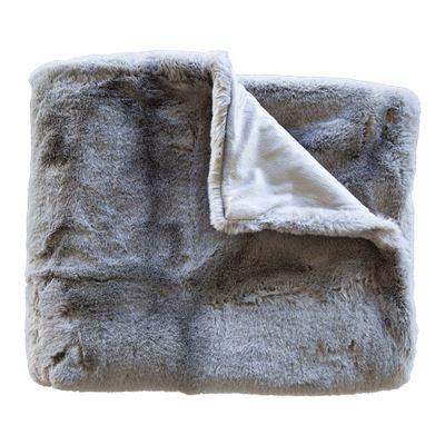 Marley Faux Rabbit Fur Throw Charcoal