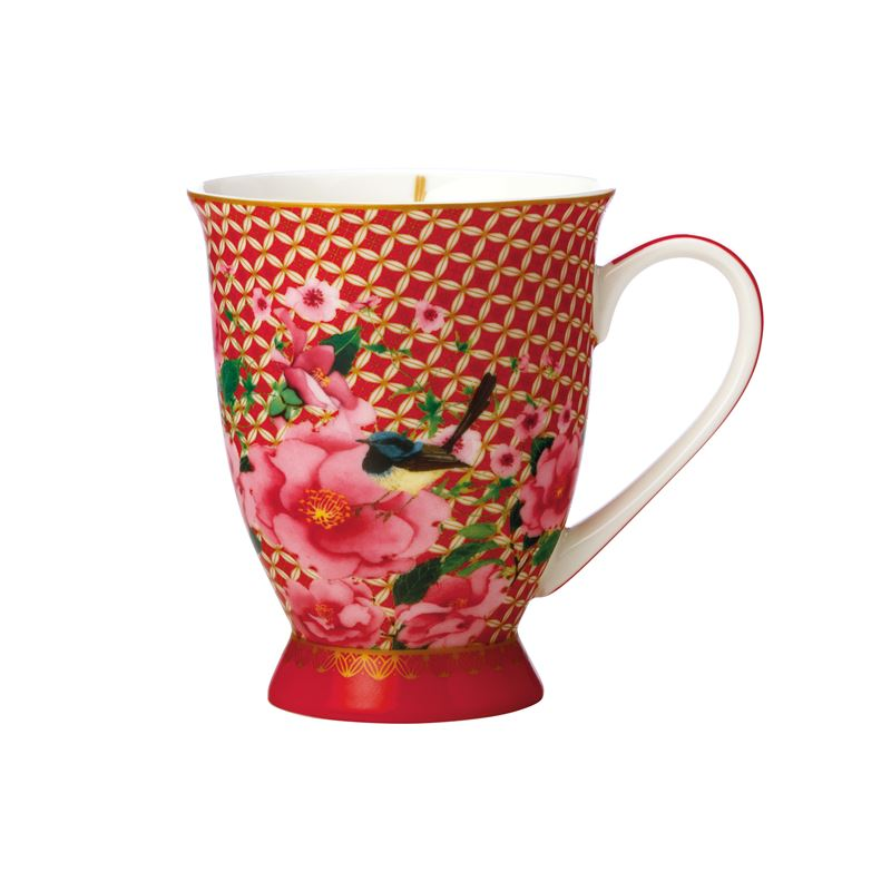 Teas & C's Silk Road Footed Mug 300ML Cherry Red Gift Boxed