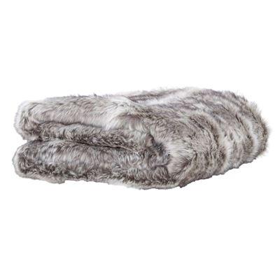 Husky Faux Fur Throw 125X150Cm Grey