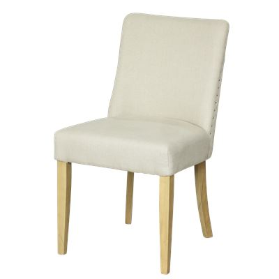 Classic Linen Dining Chair Brown Legs