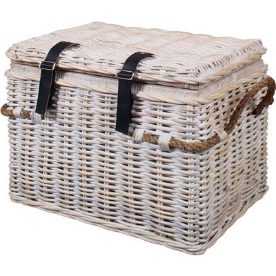 Linen Hamper with Lid White Wash