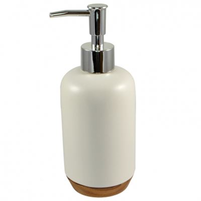 Soap Dispenser Ceramic w/Wooden Base White