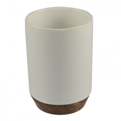 Toothbrush Cup Ceramic w/Wooden Base White