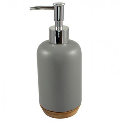 7x18cm CER W/WOOD BASE SOAP DISPENSER-GR