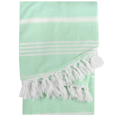 Round Hammam Towel Fringe Green 150cm
