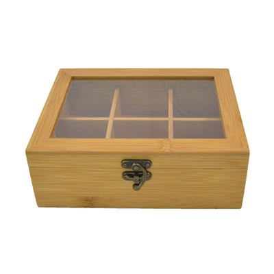 Tea Box Bamboo 22X16X7cm Rectangle 6 Section
