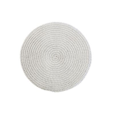 Silver Loose Weave Round Placemat 38cm