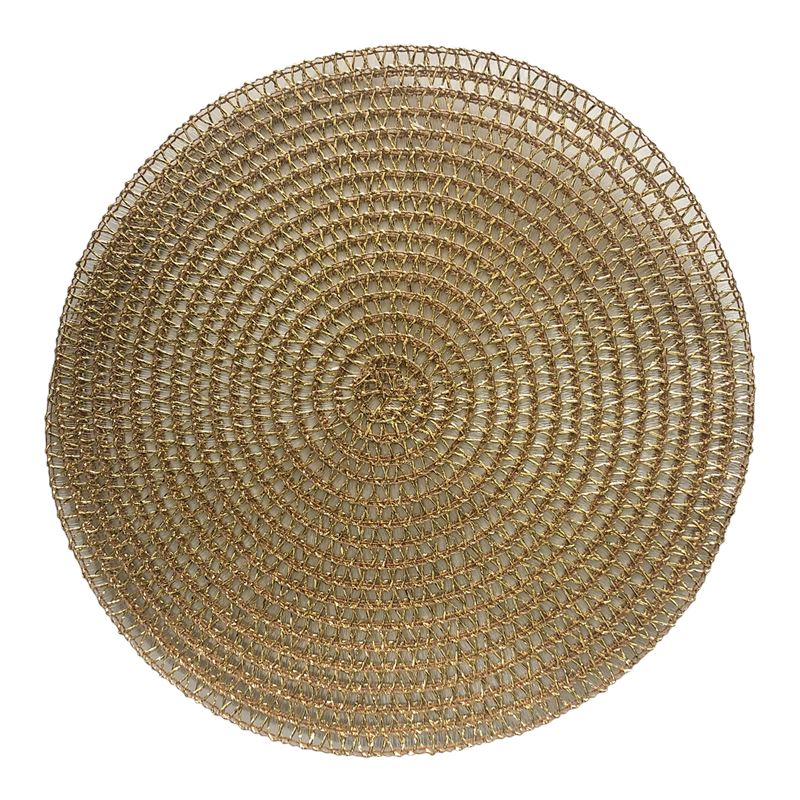 Gold Loose Weave Round Placemat 38cm
