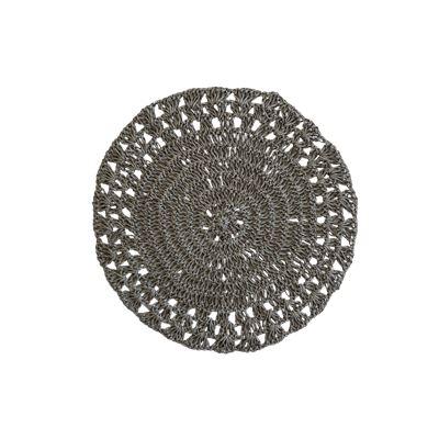 Dark Grey Weave Round Placemat 38cm