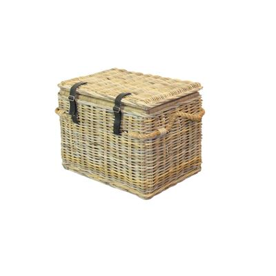 Rattan Weave Linen Hamper Medium Kubu Grey