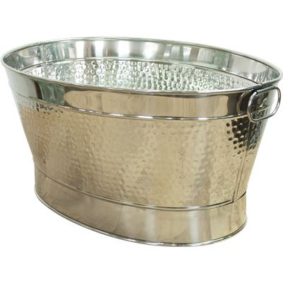 House garden oval hammered party tub w ring handle for Oval garden tub