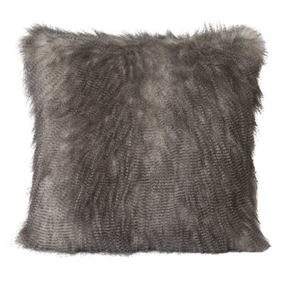 Speckled Faux Fur Cushion Charcoal
