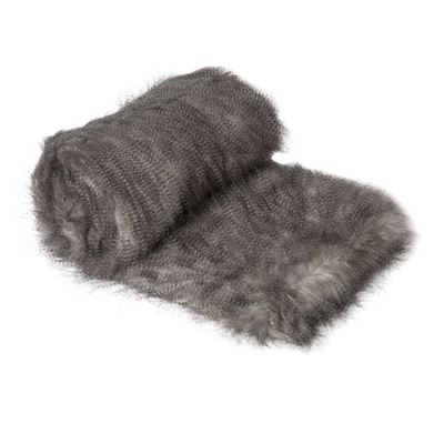 Speckled Faux Fur Throw Charcoal