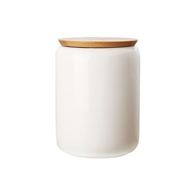 White Basics Canister Bamboo Lid 1.2L