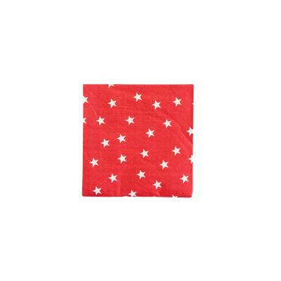 White Stars on Red Napkin,3-layer,3333cm