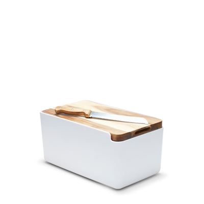 Hudson Bread Bin White W/ Wooden Cutting Board Lid