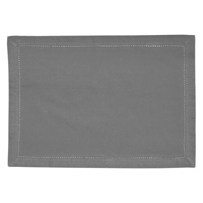 Elegant Hemstitch Placemat Grey