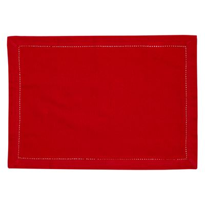 Elegant Hemstitch Placemat Red