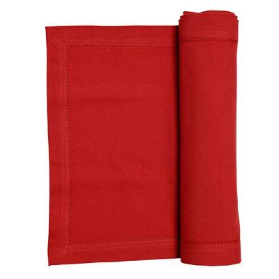 Elegant Hemstitch Runner 180cm Red