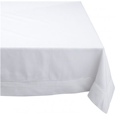 Elegant Hemstitch Tablecloth White 150x230cm