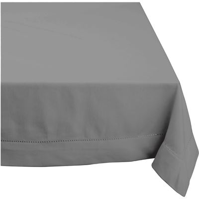 Elegant Hemstitch Tablecloth Grey 180cm Round