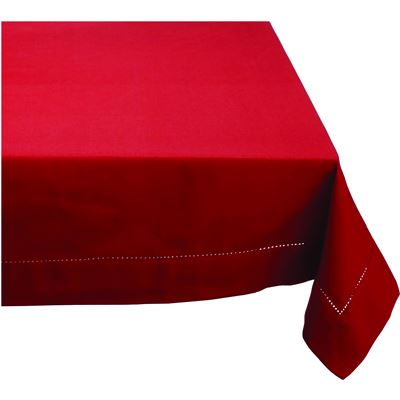 Elegant Hemstitch Tablecloth Red 180cm Round