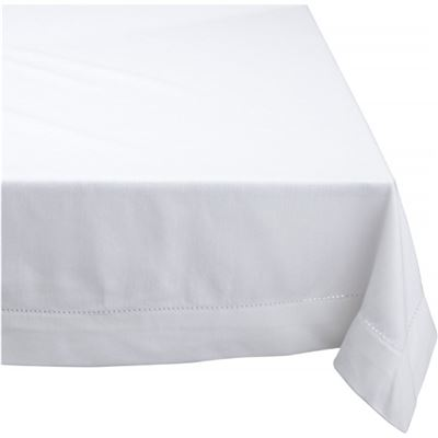 Elegant Hemstitch Tablecloth White 180cm Round
