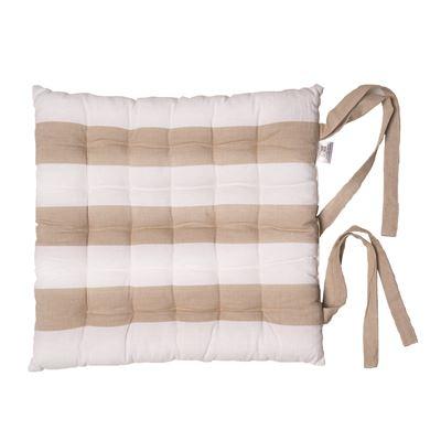 Alfresco Chair Pads Stripe Beach Sand 40x40cm