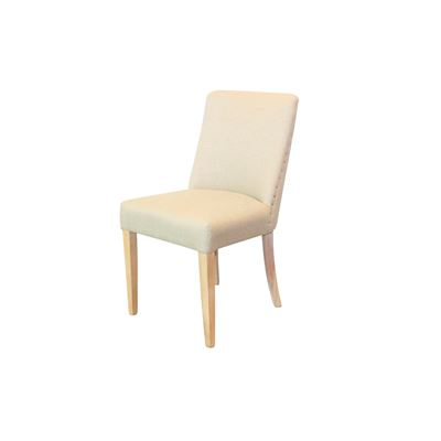 Set of 2 Classic Linen Dining Chair Whitewashed Legs