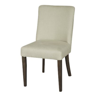 Set of 2 Classic Linen Dining Chair Dark Legs