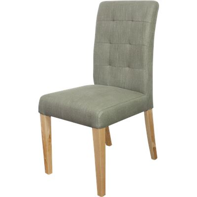 Set of 2 Studded Back Dining Chair Grey Light Leg