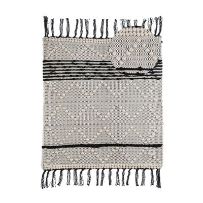 Fringe Rug Cotton Diamond Knot 60x90cm