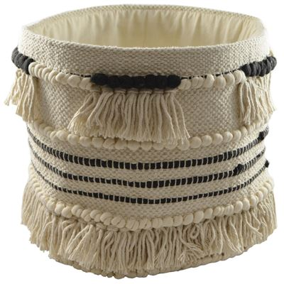 Basket Cotton Tribal Tassle 30cm Round