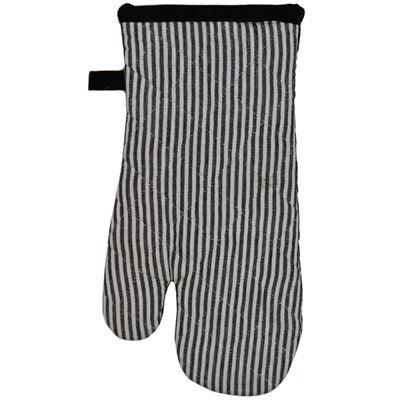 Oven Glove Cotton Hairline Black 16X32cm