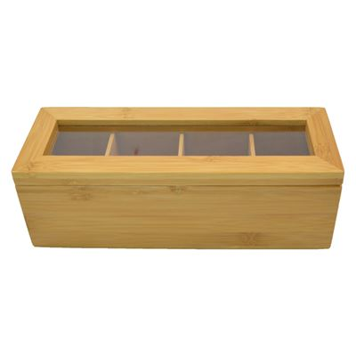 Tea Box Bamboo 26X9X9cm Rectangle 4 Section