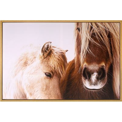 Mare & Foal Canvas Print with Oak Frame