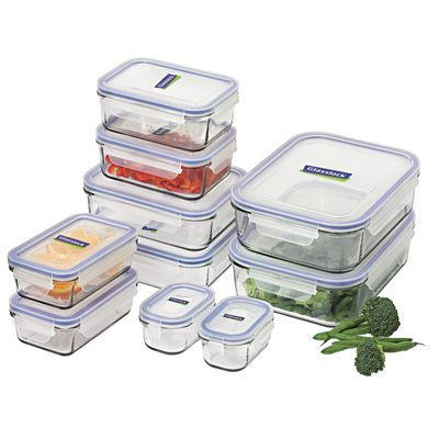 Glasslock 10 Piece Tempered Glass Food Container Set