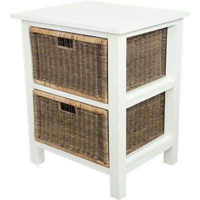 Rattan Weave 2 Drawer Storage White