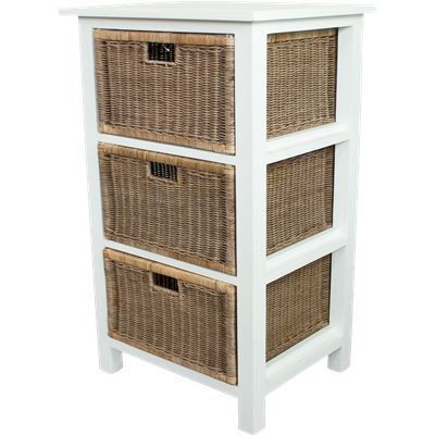 Rattan Weave 3 Drawer Storage White