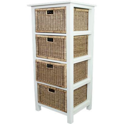Rattan Weave 4 Drawer Storage White