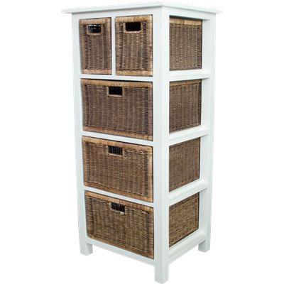 Rattan Weave 5 Drawer Storage White